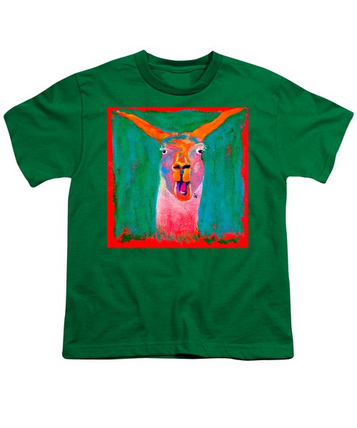 Funky Llama Art Print Youth T-Shirt by Sue Jacobi