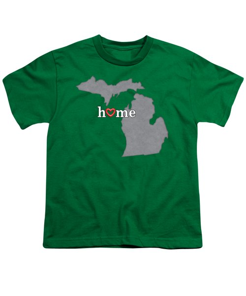 State Map Outline Michigan With Heart In Home Youth T-Shirt by Elaine Plesser