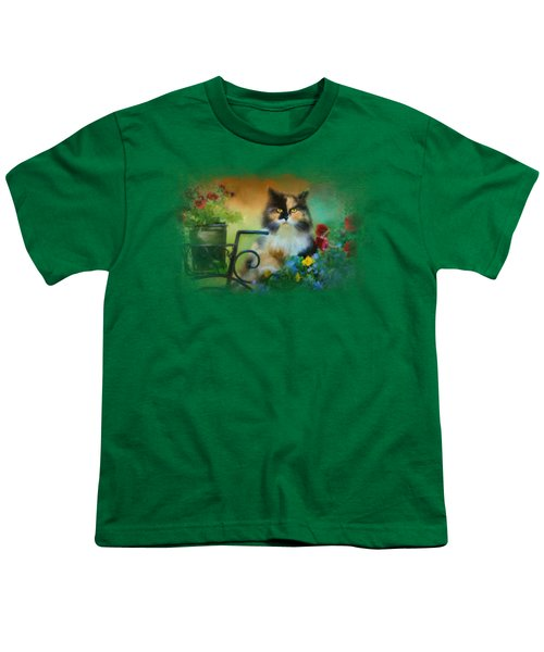 Calico In The Garden Youth T-Shirt by Jai Johnson