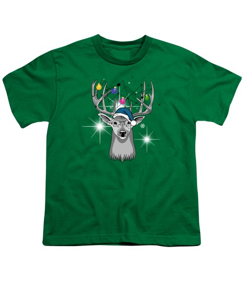Christmas Deer Youth T-Shirt by Mark Ashkenazi