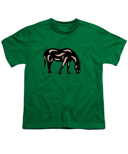 Hazel - Pop Art Horse - Black, Hazelnut, Greenery Youth T-Shirt by Manuel Sueess