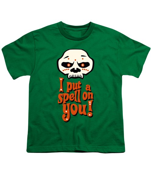 I Put A Spell On You Voodoo Retro Poster Youth T-Shirt by Monkey Crisis On Mars
