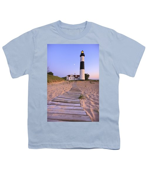 Big Sable Point Lighthouse Youth T-Shirt by Adam Romanowicz