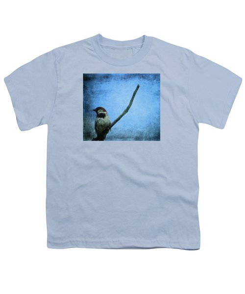 Sparrow On Blue Youth T-Shirt by Dan Sproul