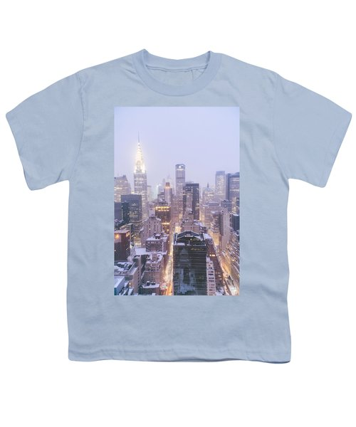 Chrysler Building And Skyscrapers Covered In Snow - New York City Youth T-Shirt by Vivienne Gucwa