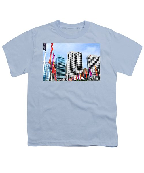 Colorful Flags Lead To City By Kaye Menner Youth T-Shirt by Kaye Menner