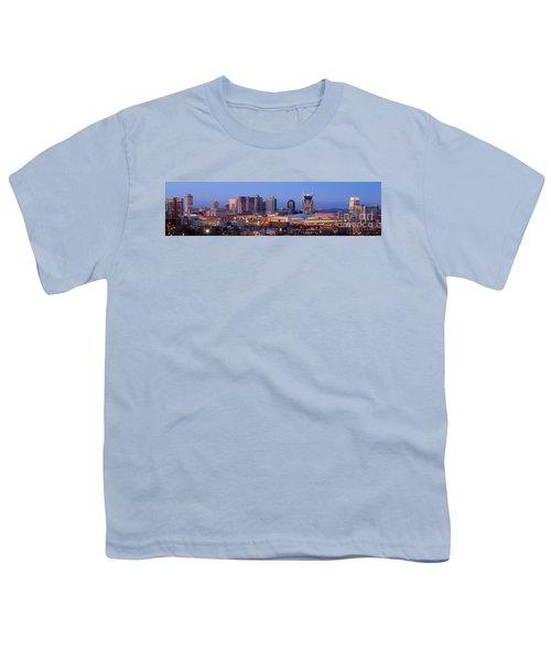 Nashville Skyline At Dusk Panorama Color Youth T-Shirt by Jon Holiday