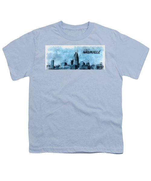 Nashville Tennessee In Blue Youth T-Shirt by Dan Sproul