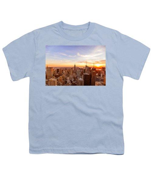 New York City - Sunset Skyline Youth T-Shirt by Vivienne Gucwa