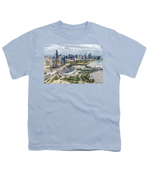 Soldier Field And Chicago Skyline Youth T-Shirt by Adam Romanowicz