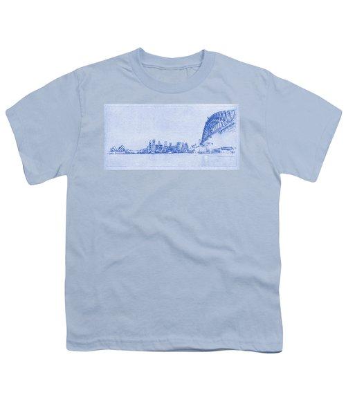 Sydney Skyline Blueprint Youth T-Shirt by Kaleidoscopik Photography