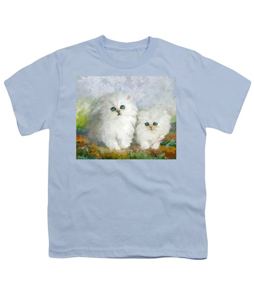 White Persian Kittens  Youth T-Shirt by Catf