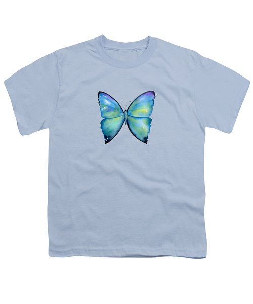 2 Morpho Aega Butterfly Youth T-Shirt by Amy Kirkpatrick