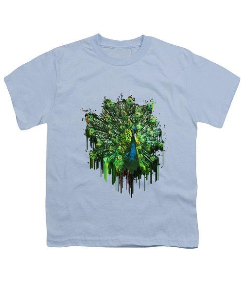 Abstract Peacock Acrylic Digital Painting Youth T-Shirt by Georgeta Blanaru
