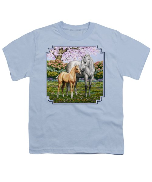Spring's Gift - Mare And Foal Youth T-Shirt by Crista Forest