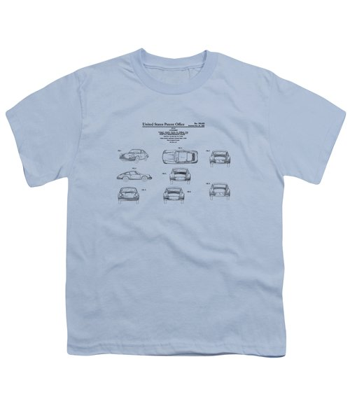 Porsche 911 Patent Youth T-Shirt by Mark Rogan
