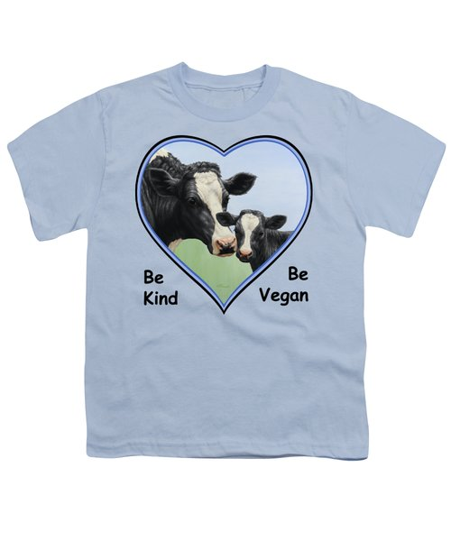 Holstein Cow And Calf Blue Heart Vegan Youth T-Shirt by Crista Forest