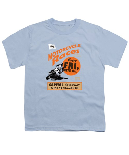 Motorcycle Speedway Races Youth T-Shirt by Mark Rogan