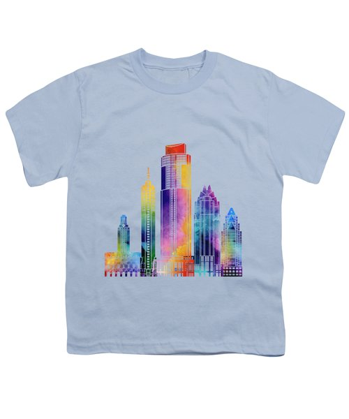 Austin Landmarks Watercolor Poster Youth T-Shirt by Pablo Romero