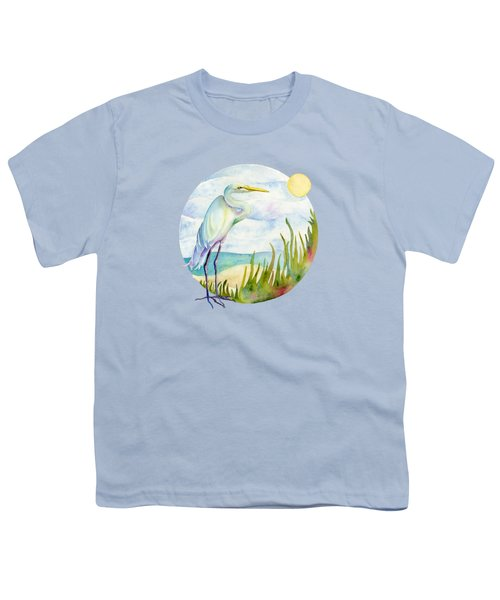 Beach Heron Youth T-Shirt by Amy Kirkpatrick