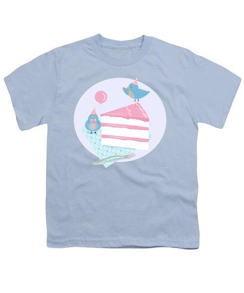 Bluebirds Love Birthday Cake Youth T-Shirt by Little Bunny Sunshine