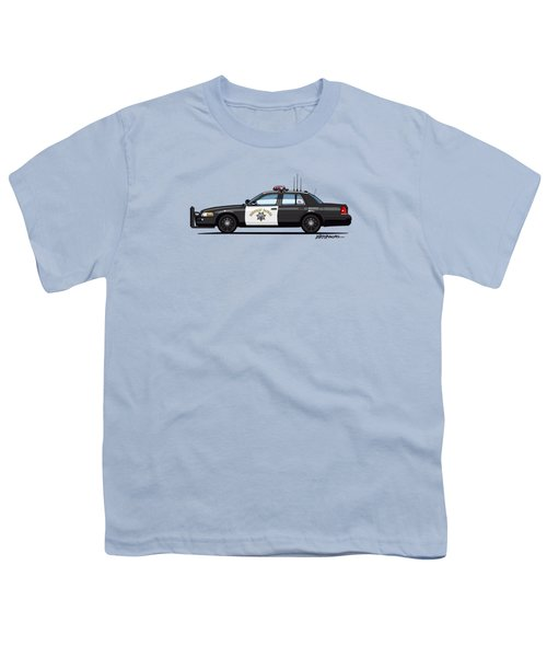 California Highway Patrol Ford Crown Victoria Police Interceptor Youth T-Shirt by Monkey Crisis On Mars
