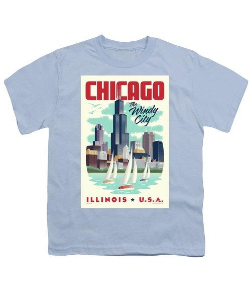 Chicago Retro Travel Poster Youth T-Shirt by Jim Zahniser