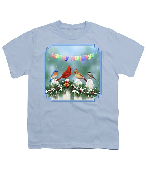 Christmas Birds And Garland Youth T-Shirt by Crista Forest