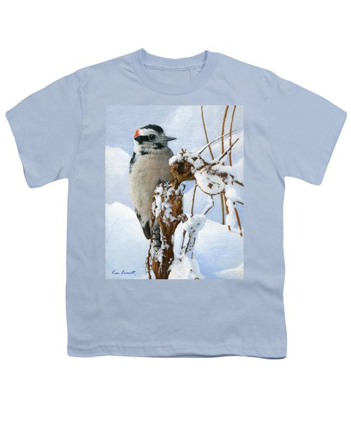 Downy Woodpecker  Youth T-Shirt by Ken Everett