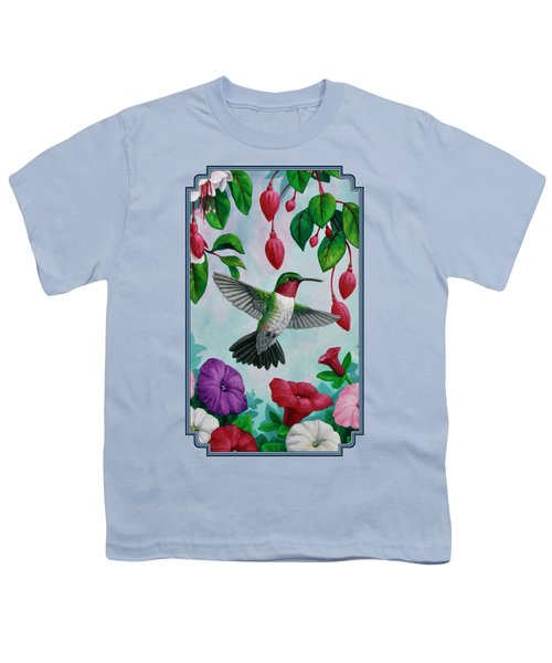 Hummingbird Greeting Card 2 Youth T-Shirt by Crista Forest