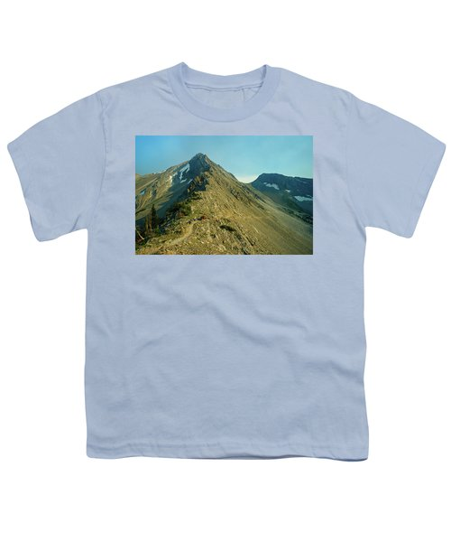 Llama Packer Hiking A Steep Rocky Mountain Peak Trail Youth T-Shirt by Jerry Voss