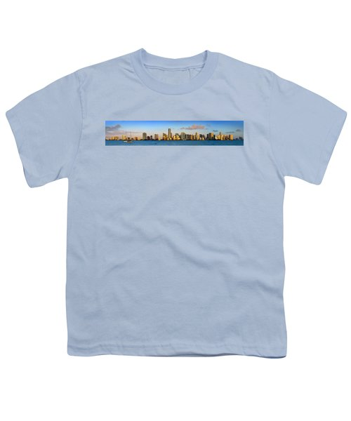 Miami Skyline In Morning Daytime Panorama Youth T-Shirt by Jon Holiday