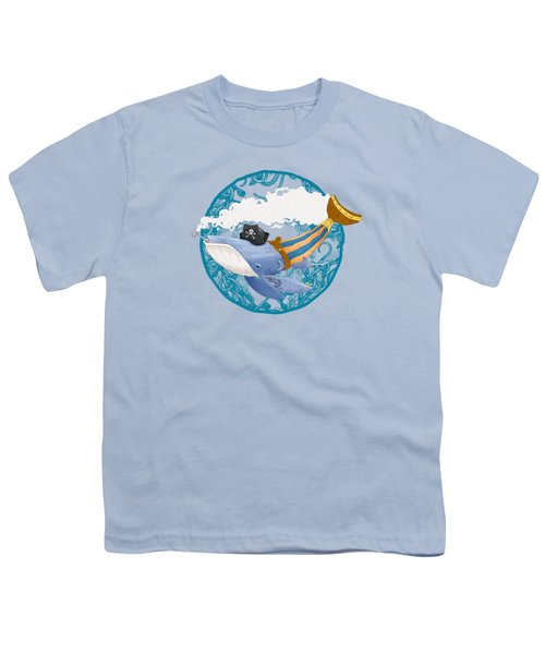 Pirate Whale Youth T-Shirt by David Perez