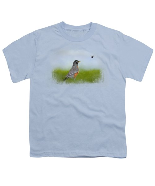 Robin In The Field Youth T-Shirt by Jai Johnson