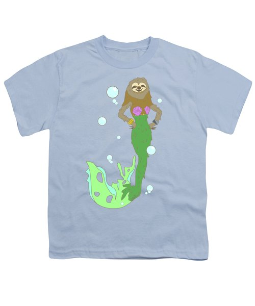 Sloth Mermaid Youth T-Shirt by Notsniw Art