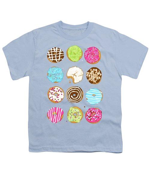 Sweet Donuts Youth T-Shirt by Evgenia Chuvardina
