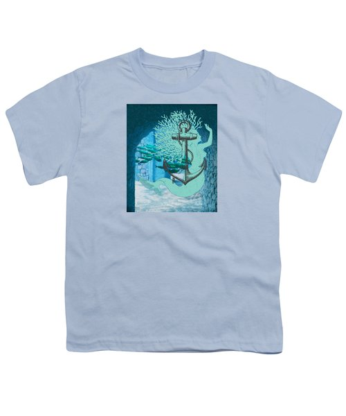 The Mermaid The Anchor And School Of Fish In The Underwater Ruins Youth T-Shirt by Sandra McGinley