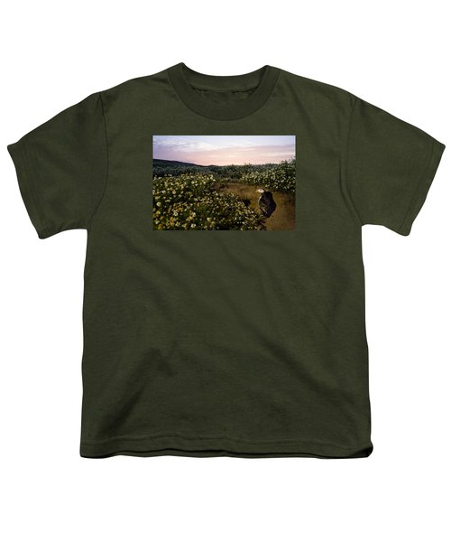 Atlantic Puffin At Burrow Skomer Island Youth T-Shirt by Sebastian Kennerknecht