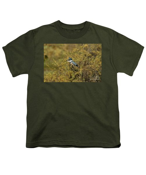 Belted Kingfisher With Fish Youth T-Shirt by Anthony Mercieca