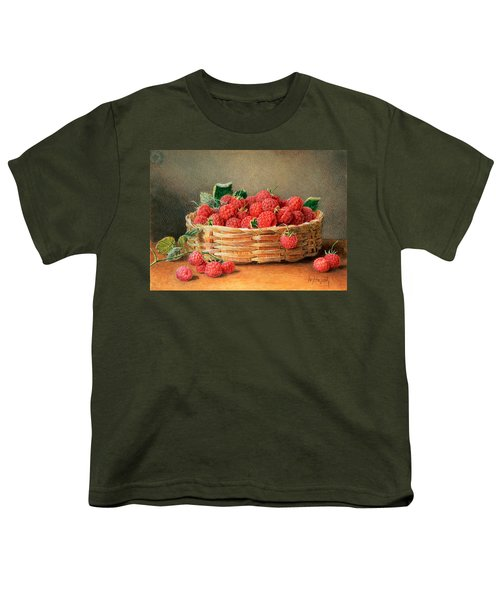 A Still Life Of Raspberries In A Wicker Basket  Youth T-Shirt by William B Hough