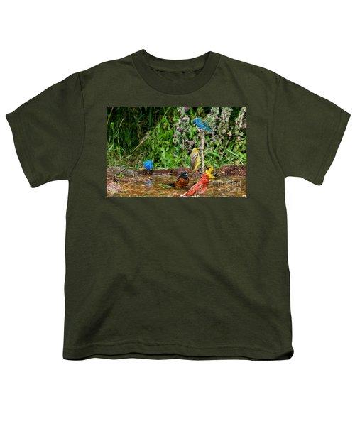 Birds Bathing Youth T-Shirt by Anthony Mercieca