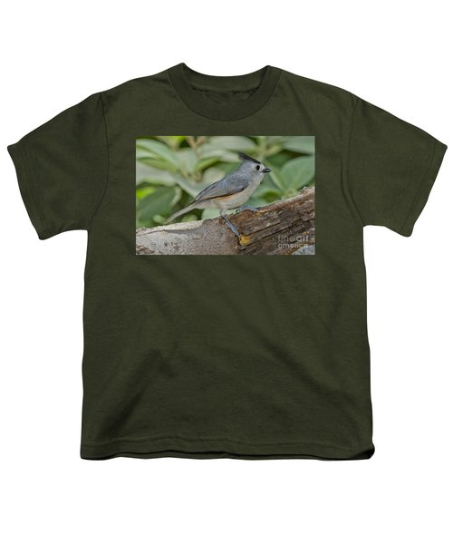 Black-crested Titmouse Youth T-Shirt by Anthony Mercieca