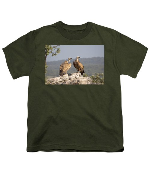 Griffon Vulture Pair Extremadura Spain Youth T-Shirt by Gerard de Hoog