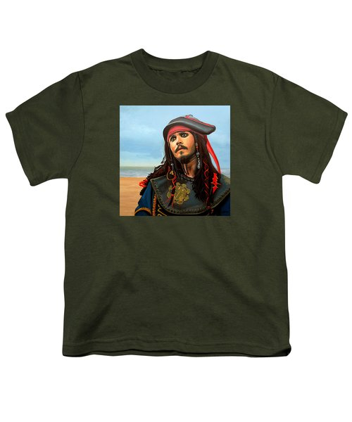 Johnny Depp As Jack Sparrow Youth T-Shirt by Paul Meijering