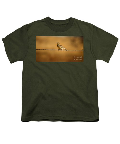 Meadowlark And Barbed Wire Youth T-Shirt by Robert Frederick