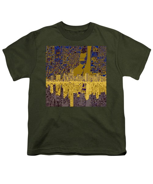 Miami Skyline Abstract 3 Youth T-Shirt by Bekim Art