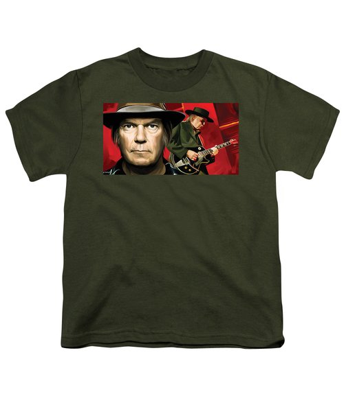 Neil Young Artwork Youth T-Shirt by Sheraz A