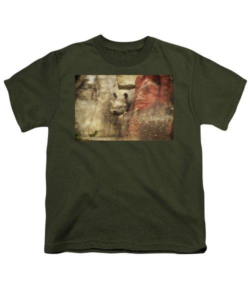 Peek A Boo Rhino Youth T-Shirt by Thomas Woolworth