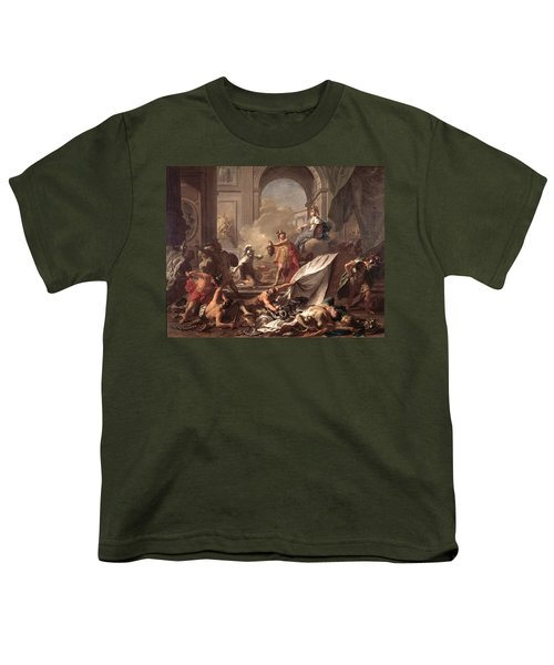 Perseus, Under The Protection Of Minerva, Turns Phineus To Stone By Brandishing The Head Of Medusa Youth T-Shirt by Jean-Marc Nattier