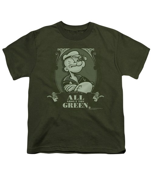 Popeye - All About The Green Youth T-Shirt by Brand A
